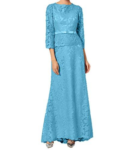 Damen Ballkleider Promkleider 4 Festlichkleider Blau Bodenlang Langarm Abendkleider 3 Brautmutterkleider Charmant Spitze HqwdppC