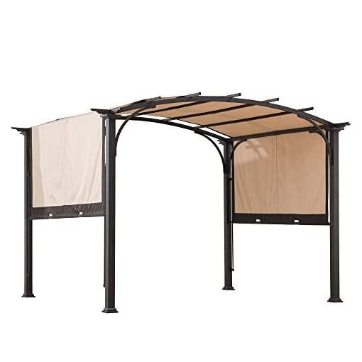 Garden and Outdoor Sunjoy Lindt 9.5 x 11 ft. Steel Arched Pergola with 2-Tone Adjustable Shade, Tan & Brown pergolas