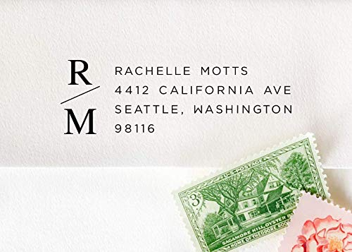 Monogram Address Stamp, Pre-Inked Custom Monogram Stamp, Wedding Invitation Stamp