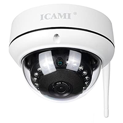 ICAMI HD Security Camera Wifi Dome IP Camera Wireless Home Surveuillance System with Motion Detect