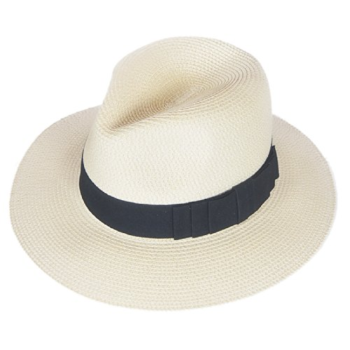F019 Unisex Straw Fedora Trilby Packable Travel Sun (Straw Trilby Hat)