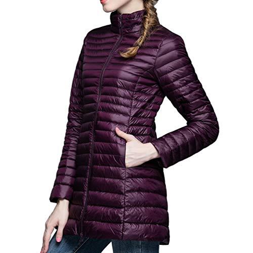 imbottito Hooded Women Zkooo Coat Warm Feather Cappotti Piumini Winter Red Pink Slim Long Ultralight qqB1x4p