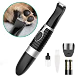 oneisall Dog Grooming Clippers,Cordless Small Pet Hair Trimmer,Low Noise for Trimming Dog's Hair Around Paws, Eyes, Ears, Face, Rump-Black