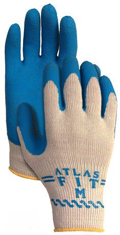 (SHOWA Best Glove 300XXL-11 Size 11 Atlas Fit 300 10 Gauge Light Weight Abrasion Resistant Blue Natural Rubber Palm Coated Work Gloves With Light Gray Cotton And Polyester Liner And Elastic Knit Wrist (1/PR))