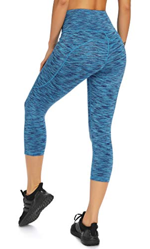 Olacia Womens High Waisted Yoga Pants Workout Leggings Athletic Capris 4-Way Stretch Tummy Control Running Pants with Pockets, Blue, Small