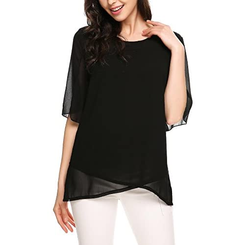 Cheap Elesol Women Casual Chiffon Shirt Loose Short Sleeve Ruffle Top Blouse Black M for sale