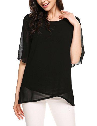 ELESOL Women Casual Short Sleeve Ruffles Chiffon Loose Blouse Black L