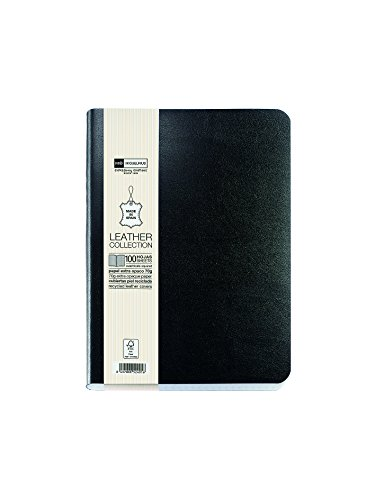 "Miquelrius Flexible Black Leather Cover Notebook, 6"" x 8.2"", Lined, 300 Sheets"