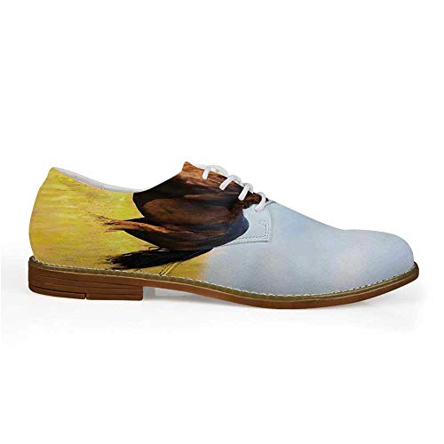 Animal Decor Stylish Leather Shoes,Friesian Horse with Mane Gallops in Meadow Equestrian Mystery Vitality Horse Theme for Men,US 11 (Best Equestrian Colleges In Us)