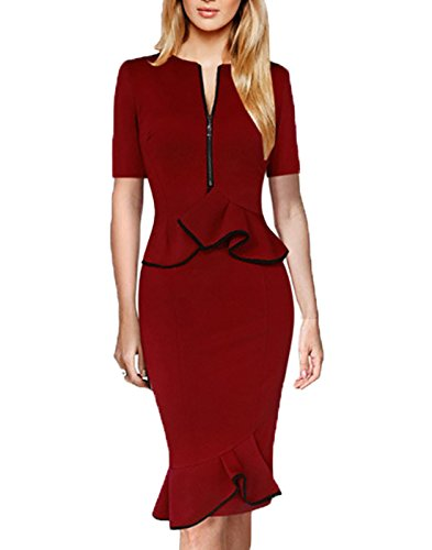 MUSHARE Women's Elegant Colorblock Wear to Work Pencil Dress (Medium, (Elegant Evening Wear)