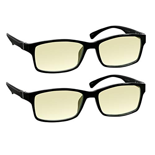 Computer Reading Glasses 0.00 Black 2 Pack Protect Your Eyes Against Eye Strain, Fatigue and Dry Eyes from Digital Gear with Anti Blue Light, Anti UV, Anti Glare, and are Anti Reflective