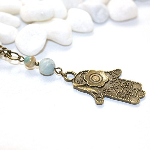 Hamsa Necklace - Unique Hand of Fatima Buddha Palm Handmade Amazonite Spiritual Healing Jewelry - Made in Phoenix, AZ