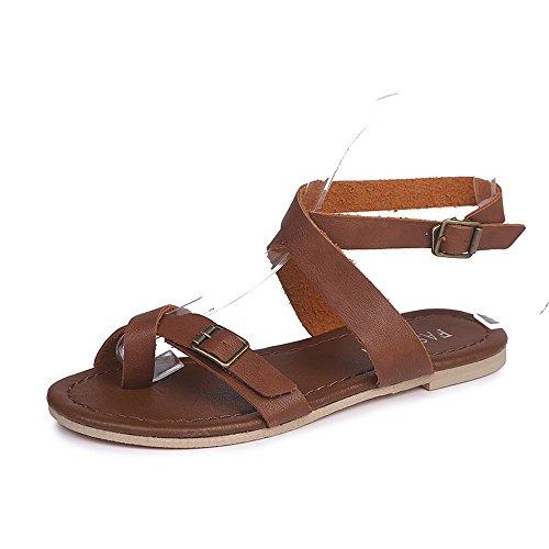 Schuhe Damen Binden Flache Solid Sandalen Sommer Freizeitschuhe Mädchen Braun Damen Ferse Flache Schuhe Plattform Braun Mode Espadrille Roman Erbsen Rom Wedge Schwarz 5wzXUxnq