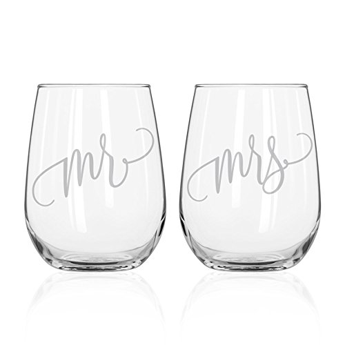 Mr and Mrs Wine Glass Set - 15oz Etched Stemless Wine Glasses for Couples. Perfect Engagement Party, Bridal Shower, Bachelorette Party or Wedding Gift from Bliss Paper Boutique (LEAD FREE & BPA FREE)