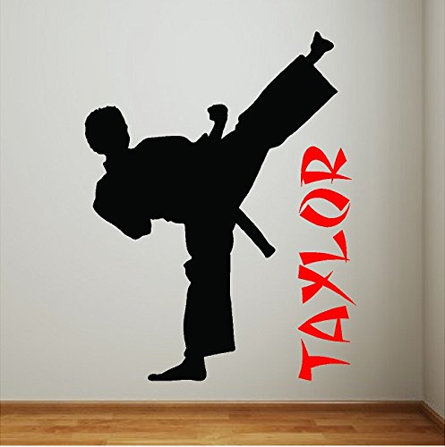Personalized Boy Karate Wall Decal Art Karate Sticker Taekwondo Martial Arts Words Removable Karate Wall Art Lettering by EYE CANDY SIGNS