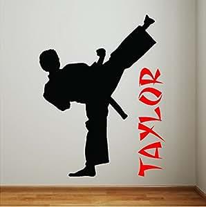 Personalized Boy Karate Wall Decal Art Karate Sticker Taekwondo Martial Arts Words Removable Karate Wall Art Lettering