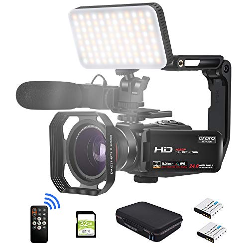 Camcorder Video Camera FHD 1080P 30FPS Vlogging Camera Digital Video Recorder WiFi Camera Infrared Night Vision Camcorders with Mic, LED Light, Wide Angle Lens, Handheld Stabilizer and Carrying Case