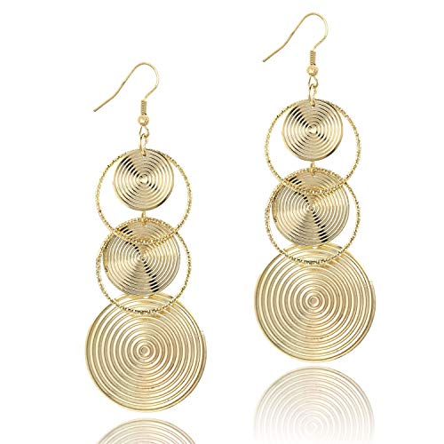 Women's Gold Round Spiral Disc Triple Dangle Earrings Carved Drop Long Earring or Party Prom xMAS ()