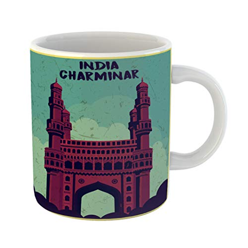 Emvency Coffee Tea Mug Gift 11 Ounces Funny Ceramic Hyderabad Indian Monument Charminar Andhra India Gifts For Family Friends Coworkers Boss ()