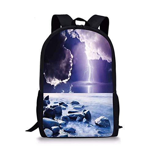 Fashbag Unisex Outdoor Backpack Lake House Decor,Dark Ominous Rain Clouds with Mystic Sky Scenery with al Lightning Photo,Blue Purple Waterproof Rucksack