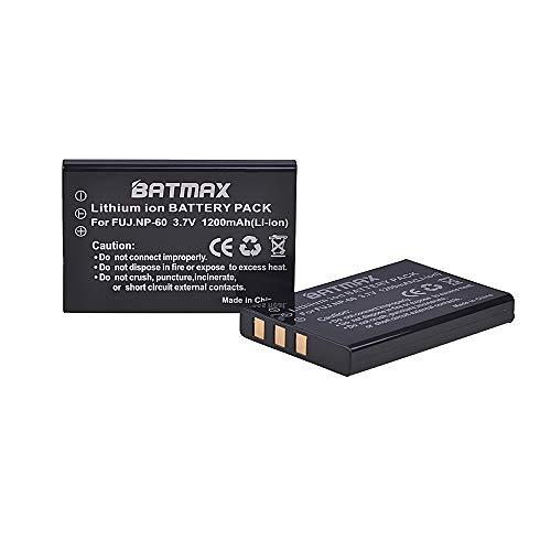 (Batmax 2Pcs 1200mAh FNP-60 Battery for Fuji NP-60,Pentax D-L12,Kodak KLIC-5000 Battery; Fujifilm Finepix 50i 601 F401 F401 Zoom F410 F410 Zoom F601 F601 Zoom M603 M603 Zoom Cameras)