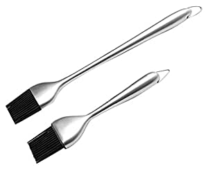 Haicheng Basting Brush and Pastry Brush-Set Of 2 Silicone Brush with Stainless Steel Handle-12 Inch/7 Inch-Great For BBQ Meat,Grill,Cakes and Pastries