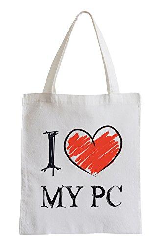 Amo il mio PC Fun sacchetto di iuta