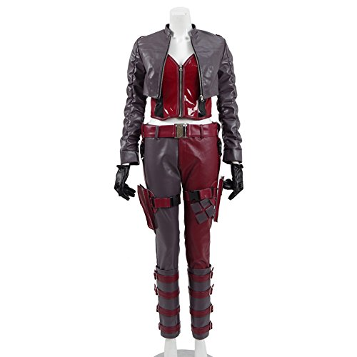 Cosdaddy Women's Clown Sexy Battle Suit for Halloween&Christmas (S, Red+Black)