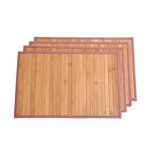 Marscool Placemat for Kitchen Table,Bamboo Placemat Stain-Resistant,Heat-Resistant Placemats Set of 4,Natural Bamboo Material,Table Mats and Dine Mats for Dining Table,Four Model Choices(Original) by Marscool (Image #2)