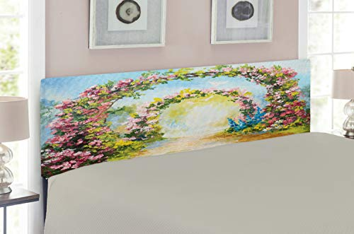 Ambesonne Country Headboard for Full Size Bed, Colorful Floral Arch in The Summer Park Romantic Feminine Boho Paint Style Print, Upholstered Decorative Metal Headboard with Memory Foam, Multicolor