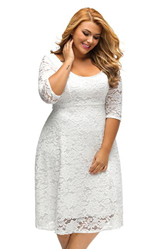 SunShine Plus Size Dress White Floral Lace Sleeved Fit and Flare Curvy Dress White (US 22-24)XXXL