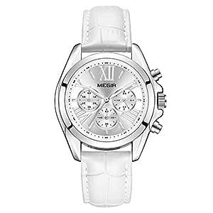 Women's Leather Strap Wrist Watches Analogue Chronograph Quartz Watches (2114 White) …