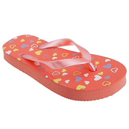 FLOSO - Sandalias/ chanclas con estampado de corazones para niñas Turquesa