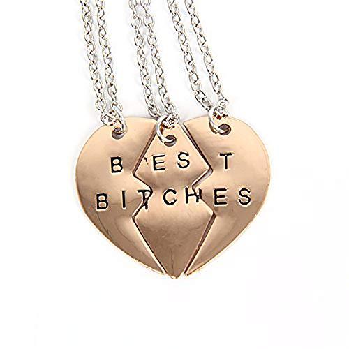 Ximei Best Friend Forever BFF Best Bitches Split Puzzle Heart Pendant Couple Necklace (Gold Tone & 3 PCS)