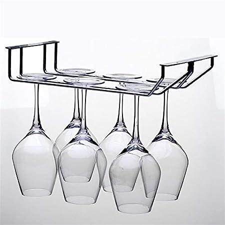 RWEAONT Vino de Acero Inoxidable Estante de Cristal Simple y Doble Fila de Vino Rack de Altura de Pared de Vidrio Colgando Armario Rack Caja de Almacenamiento (Color : 1 Row 22CM)