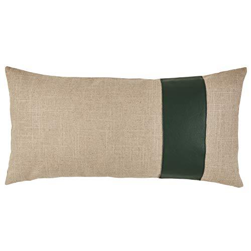 Rivet Industrial Throw Pillow – 24 x 12 Inch, Flax Hunter Green
