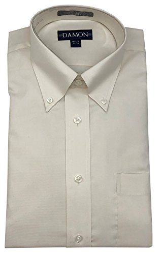 Enro/Damon Damon Pinpoint Oxford Button Down Collar Dress Shirt (Ivory, 15.5 32/33) ()