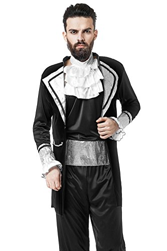 Aristocrat Costume Mens (Adult Men Noble Count Halloween Costume Aristocrat Lord Dress Up & Role Play (One size fits most, black, silver, white))
