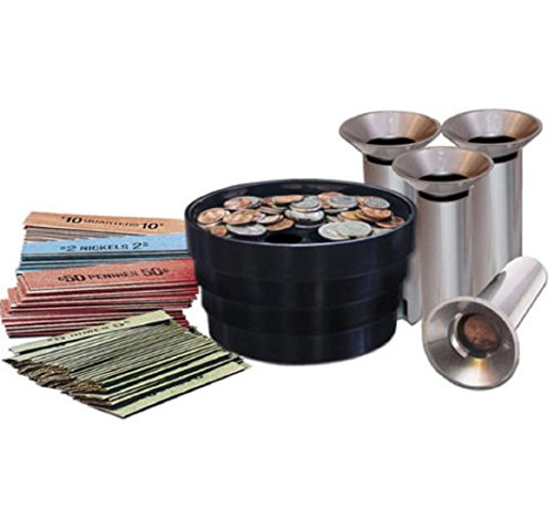 Coin Sorter Kit Bank Money Change Tubes Roll Wrap Pennies Quarters Nickels Dimes, - Coin Inlay Chip