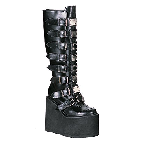 Trendy Platform Knee Boot - 5 1/2 Inch Platform Boots Trendy Knee High Boots Gothic Boots Black Boots Metal Size: 10
