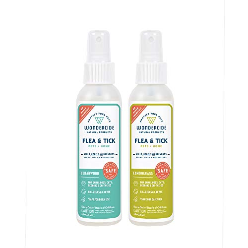 Wondercide Natural Flea, Tick and Mosquito Spray for Dogs, Cats, and Home - Flea and Tick Killer, Prevention, Treatment - 4 oz Lemongrass & Cedarwood 2-Pack
