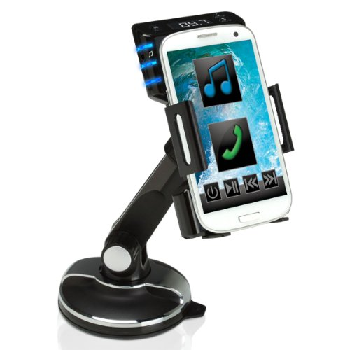 FlexSMART Windshield / Dashboard Cradle Mount & FM Transmitter for Audio Playback & Hands-free Calling by USA GEAR - Works with Apple iPhone 6s , HTC One M10 , Samsung Galaxy S7 & More Smartphones