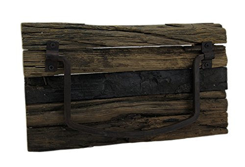 Zeckos Rustic Weathered Wood and Metal Wall Mounted Towel Holder (Towel Bar Cabin)