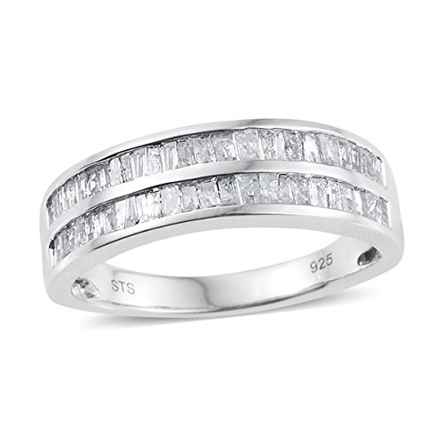 925 Sterling Silver Platinum Plated 1 cttw Diamond Baguette Wedding Ring for Women Size (Baguette Diamond Platinum Wedding Band)