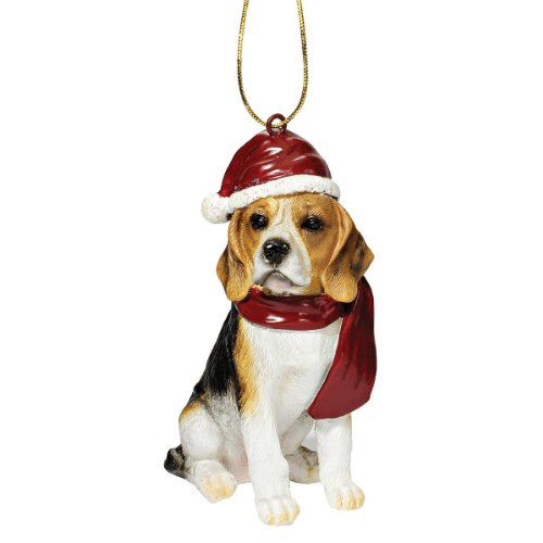 Design Toscano Beagle Holiday Dog Christmas Tree Ornament Xmas Decorations, 3 Inch, Full Color Dog Christmas Holiday Ornament