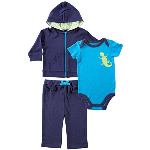 Yoga Sprout Baby-Boys Lizard Collection Hoodie Bodysuit and Pant Set, Navy/Lime, 0-3 (Childrens Lizard)