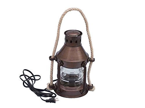 Coastal Christmas Tablescape Décor -  Nautical Antique Copper Round Anchor Electric Lantern by Vermont Lanterns