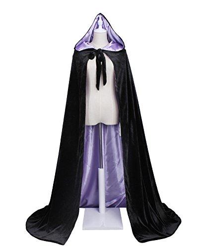 LuckyMjmy Velvet Renaissance Medieval Cloak Cape Lined with Satin (Plus+, Black-Lilac) ()