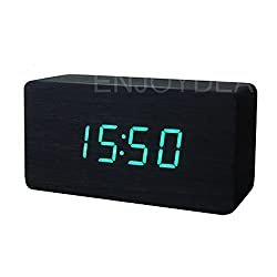 LED Voice-activated Wooden Digital Alarm Clock