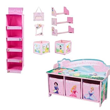 Disney Princess Room Accessories Decor With Storage Bench And Closet  Organizer